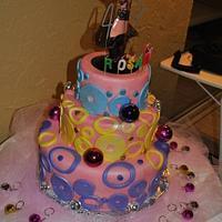 45th Disco Theme Birthday Cake