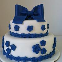 Blue Flower Cake - Ist Tiered Cake!
