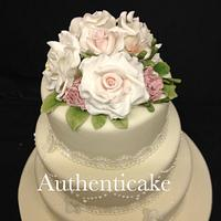 Today's vintage wedding  sugar roses, freesias etc  by Ange Cliffe