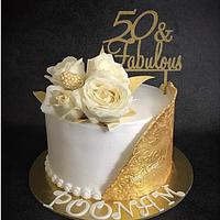 Whipped Cream Gold and White Cake