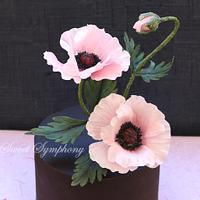 Ganached cake with poppies