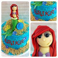 Little mermaid Ariel inspired cake