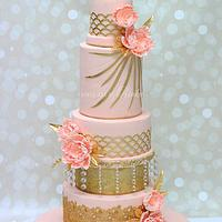Tall Pink Five Tier Wedding Cake
