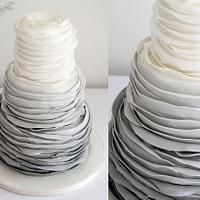 Grey Ombre Ruffle Wedding Cake by Sugar Ruffles