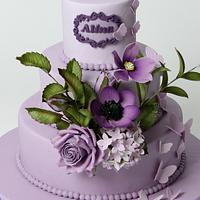 Purple cake with purple flowers