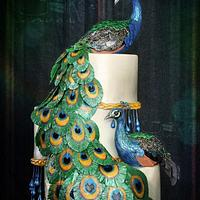 Peacocks in Cotillion Cake