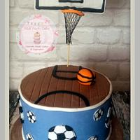 Basketball Cake (with football accents)
