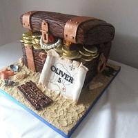Pirate treasure chest birthday  cake