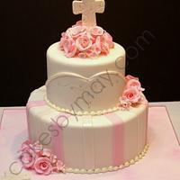 Pink Flowers Christening Cake
