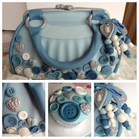 Bag cake with buttons and bag jewellery
