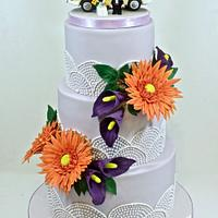 Gerbera and lily wedding cake