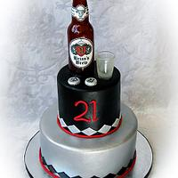 Sugar Beer Bottle and Shot Glass Cake