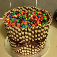 Checkerboard candy barrel cake