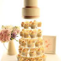 Blushing Pink wedding cupcake tower