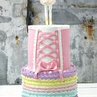 Pastel ballerina ruffles cake