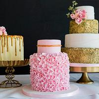 Pink and gold cakes