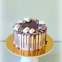 Purple dripping cake