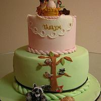 Forest Friends Themed Baby Shower Cake