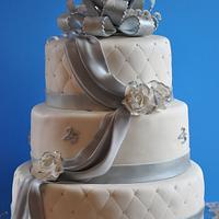 25 Anniversary 3 tier cake completely handmade.
