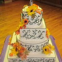 4 tier, Fall theme/ Jack and Sally topper  by Steel Penny Cakes, Elysia Smith