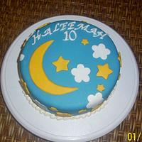 Moon Stars and Clouds Birthday Cake