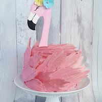 Flamingo birthday cake.