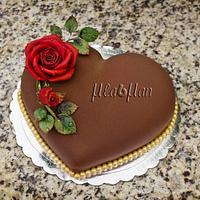 chocolate velvet heart cake