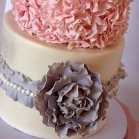 Pink & Grey Ruffled Wedding Cake