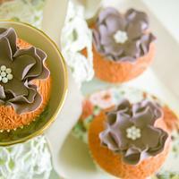 Orange lace cupcakes