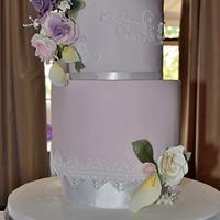 small pink wedding cake