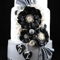 Stirling, Black and White Engagement Cake