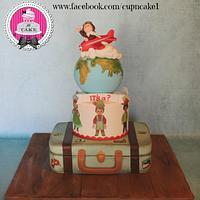 Little traveler baby shower cake