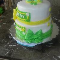green and yellow baby shower cake