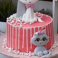 Cats drip Birthday cake Pink