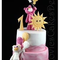 pinky teddy cake with sun