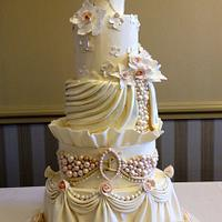 Champagne Pink, Ivory, and Gold -Pearls and Swags Wedding Cake