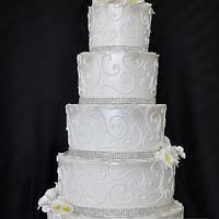5 Tiered Buttercream Iced Wedding Cake