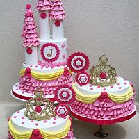 Princess castle and crown cakes