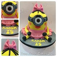 girlie minion cake