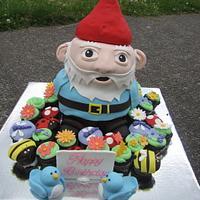 Gnome cake in a cupcake garden