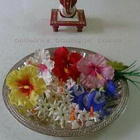 Sugar Pooja Flowers Thali