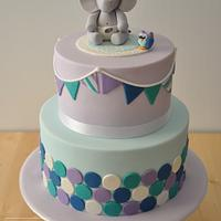 Baby Elephant and Owl Baby Shower Cake