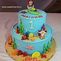 Sea, Mermaid theme 2 layer fondant cake for girl's 1st birthday
