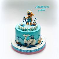 Teddy Bear Sailor 1st Birthday Cake