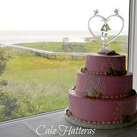 Pink Beach Wedding Cake