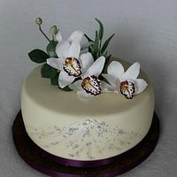 Birthday cake with orchids