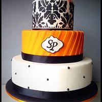 A wedding reception cake