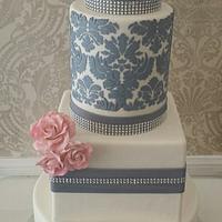 Damask stencil wedding cake