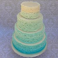 Teal ombre buttercream ruffle cake