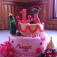 "Veggie Tales ""1st Birthday"" cake by Melissa Cook"